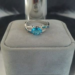Aquamarine .925 Sterling Silver Ring - stamped